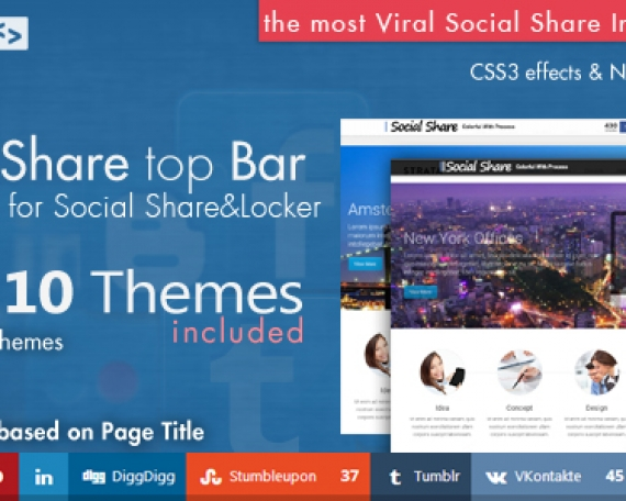 Social Share top Bar AddOn – WordPress